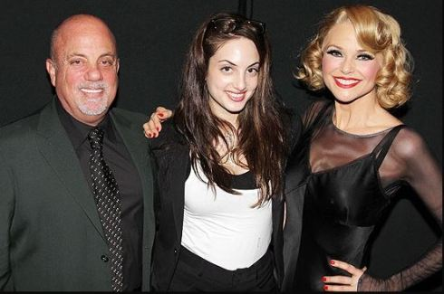 Music superstar Billy Joel with his daughter Alexa Ray, at her mom and his ex-wife, Christie Brinkley's broadway show, Chicago on June 11, 201.