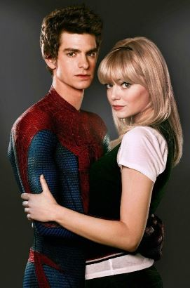 Spider-Man with his love interest in the film, Gwen Stacey.