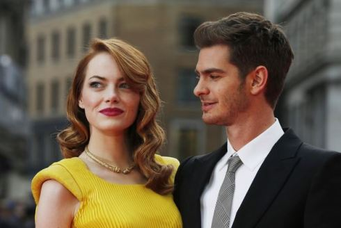 "Emma Stone and Andrew Garfield at the London premiere of ""The Amazing Spider-Man 2."""