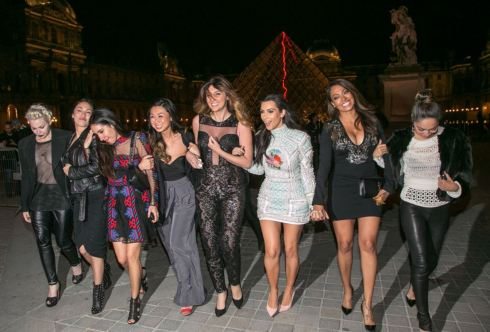 Kim Kardashian out for a night out on the town with her girlfriends in Paris Thursday. PHOTO: E! News