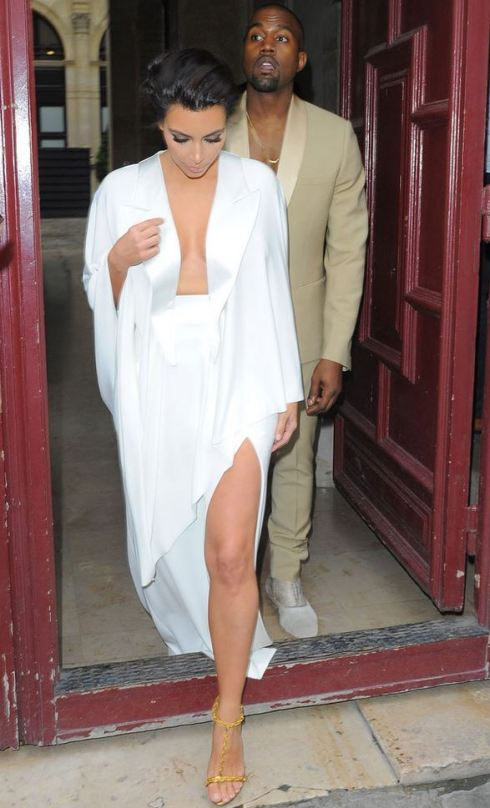 Kim and Kanye headed to their party at the Palace of Versailles in Paris. PHOTO: E! News