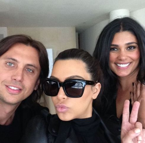 Kim with two of her best friends, Jonathan Cheban and designer, Rachel Roy.