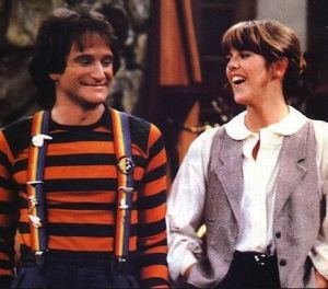 "Robin Williams and Pam Dawber in the 70s and 80s hit ""Mork and Mindy."""
